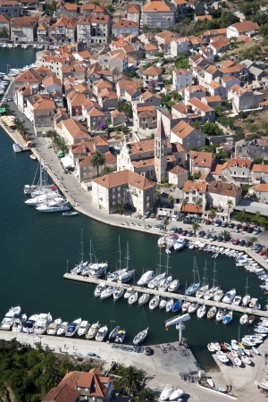 brac: Settlement Milna on the west side of Brac island in Croatia, aerial view Stock Photo