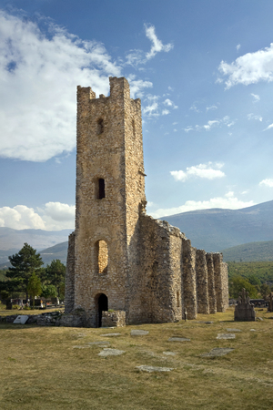 apses: Ruins of early Croatian Church of Holy Salvation near source of river Cetina near town Vrlika Stock Photo