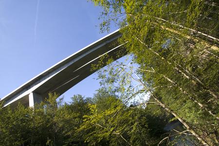 Elegant concrete highway bridge over canyon Kamacnik in Croatia