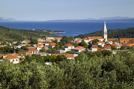 Village Selca above the sea on island Brac in croatia Фото со стока