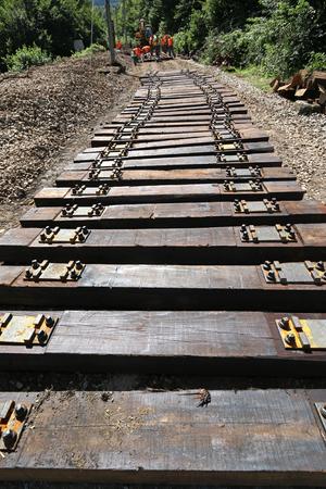 Group of workers work on maintenance railroad in Croatia