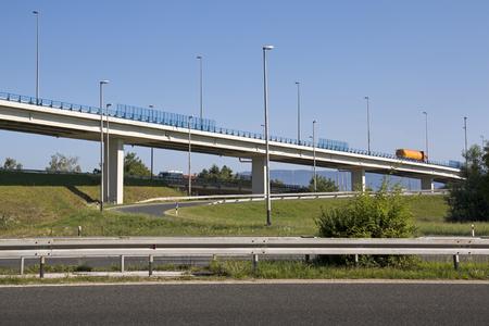 Overpass on highway near capital Zagreb in Croatia
