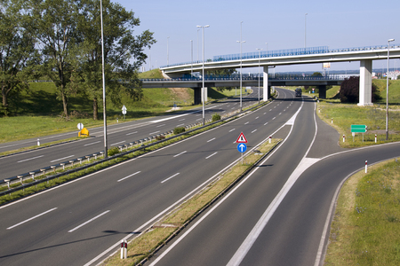 Highway in capital Zagreb in Croatia, south exit from town
