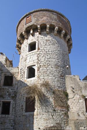 Tower in Kastel Kambelovac one of seven settlement of town Kastela in Croatia