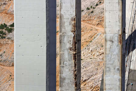 Renewing corrosion damages on arch and pillars of concrete bridge Maslenica on A1 highway in Croatia