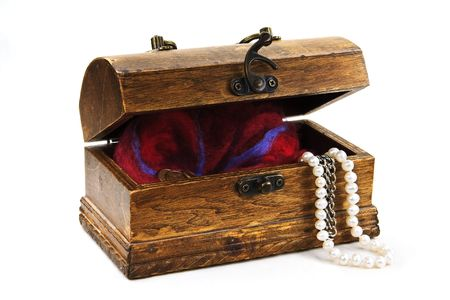 chest with treasures isolated on white photo