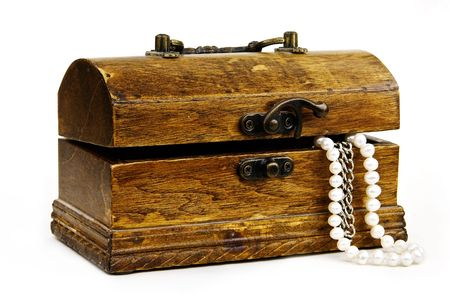 taint: chest with treasures isolated on white