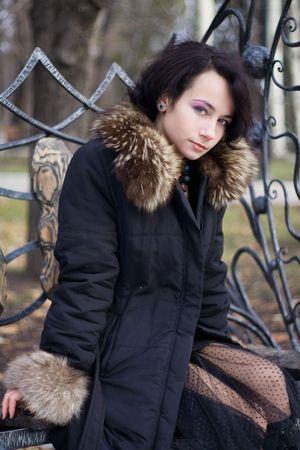 fur hood: calm girl in coat
