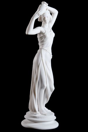 Classical white marble statue of awoman with vase isolated on black background