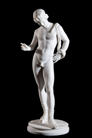 Classical marble white statue isolated on black background