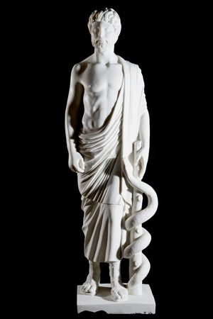 White marble classic statue of Asclepius isolated on black background