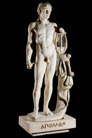 greek gods: Classic painted marble statue of Apollo isolated on black background