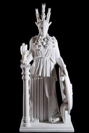 Classic white marble statue of Athena isolated on black background Stock Photo