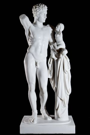 Classic white marble statue Hermes and the Infant Dionysus isolated on black background