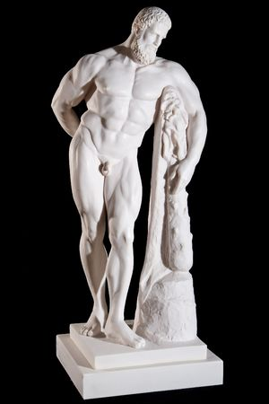 greek statue: Classical white marble Hercules statue isolated on black background
