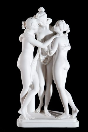 Classic white marble statue The Three Graces by Antonio Canova isolated on black background