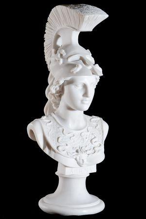 Classic white marble bust of Athena isolated on black background photo