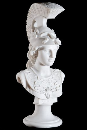 Classic white marble bust of Athena isolated on black background
