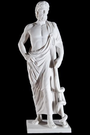 god figure: White marble classic statue of Asclepius isolated on black background