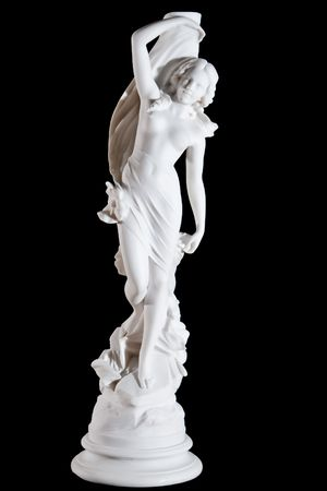 Classic white marble statue of Aprodite isolated on black background