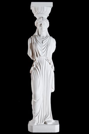 Classic white marble Caryatid isolated on black background