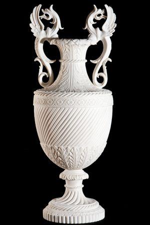 antique vase: Classic white vase isolated on black background Stock Photo