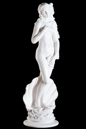 Classic white marble statue The Birth of Venus isolated on black background Reklamní fotografie