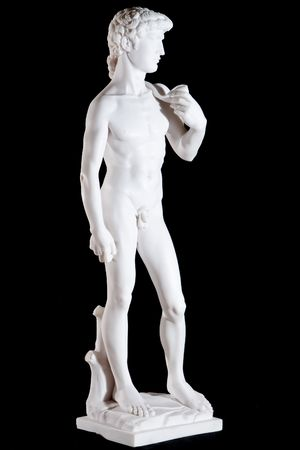 White classic marble statue of David (Michelangelo) isolated on black background photo