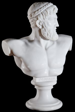 Classical white bust of Poseidon isolated on black background photo