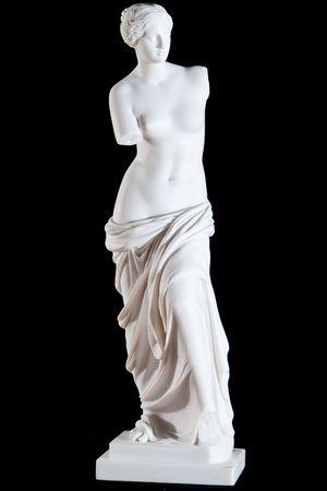 statue grecque: Statue classique en marbre blanc Aphrodite de Milos isol� sur fond noir  Banque d'images