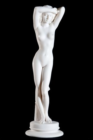 antique woman: Classic white marble statue of a woman isolated on black background