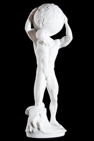 titan: White classic statue of titan Atlas isolated on black background