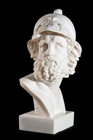 Classical marble white Zeus Bust isolated on black background
