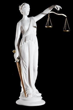 greek statue: Classic white marble statue of Themis with sword and scales