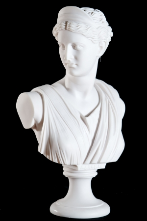 greek mythology: Classic white marble bust of Athena isolated on black background