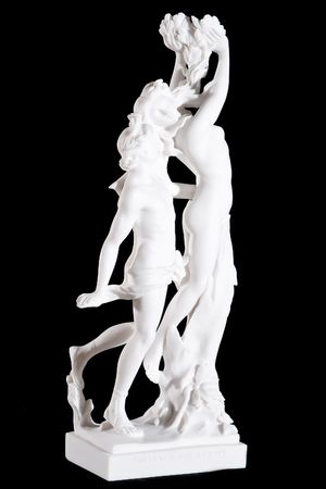 daphne: Classic white marble statue Apollo and Daphne (Bernini) isolated on black background