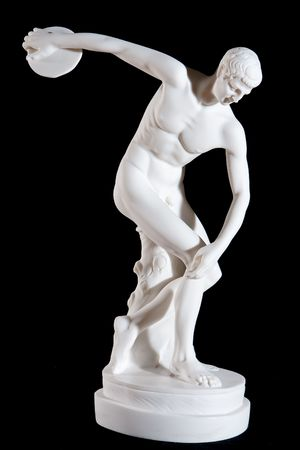 naked statue: Classical white marble statue of naked discus thrower isolated on black background Stock Photo