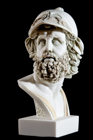 Classical painted marble Zeus Bust isolated on black background Imagens