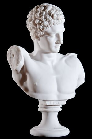 Classic white marble bust, element of statue Hermes and the Infant Dionysus isolated on black background photo