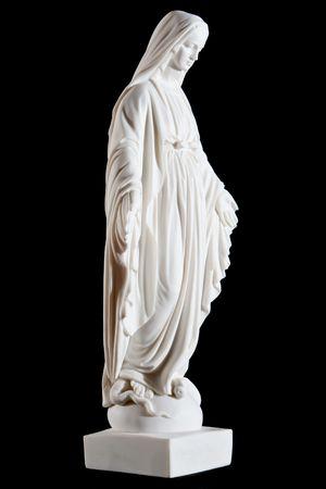 マリア (イエスの母) 黒の背景で隔離のクラシックな白い大理石像