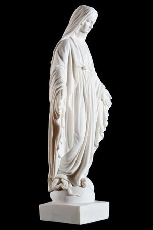 Classic white marble statue of Mary (mother of Jesus) isolated on black background