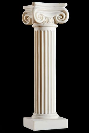 roman pillar: Classical white marble column isolated on black background