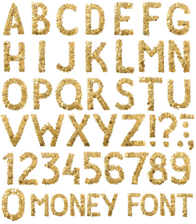 Coins money handmade alphabet  font isolated on white background 免版税图像