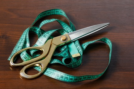 fitter: Professional tailors tools for cutting and sewing, scissors, flexible ruler tape