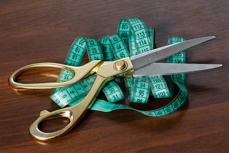 tailor tape: Professional tailors tools for cutting and sewing, scissors, flexible ruler tape