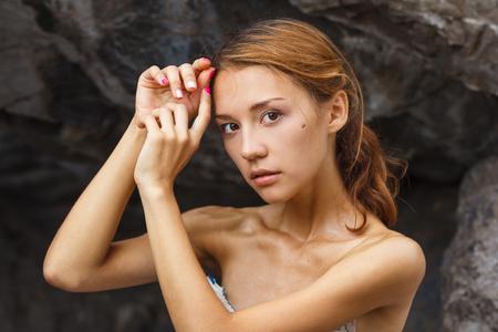 sexy young girl: Голова и плечи моды портрет стрелять красивой девочки подростка