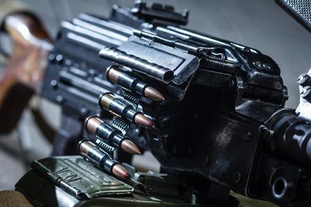 machine gun: soviet russian weapon: machine gun PKM detail
