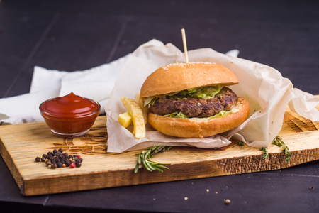 ingridients: Concept: healthy food. Gourmet homemade burger with garnish and ingredients on the dark background.