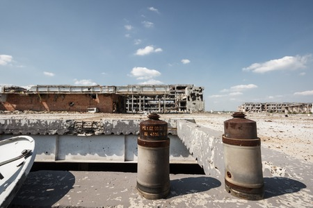 shelling: Wide Angle view of donetsk airport ruins after massive artillery shelling