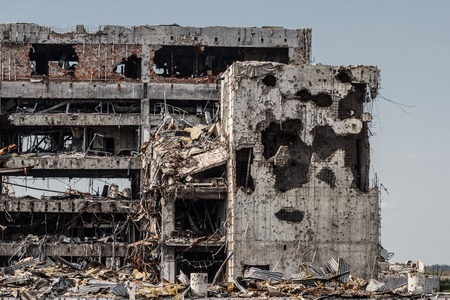 Detail view of donetsk airport ruins after massive artillery shelling Stock Photo